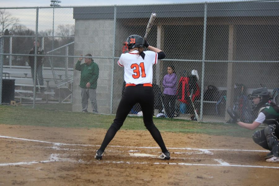 Isabella Sciullo prepares to swing during the Lady Hawks' game vs. Allderdice on March 28.