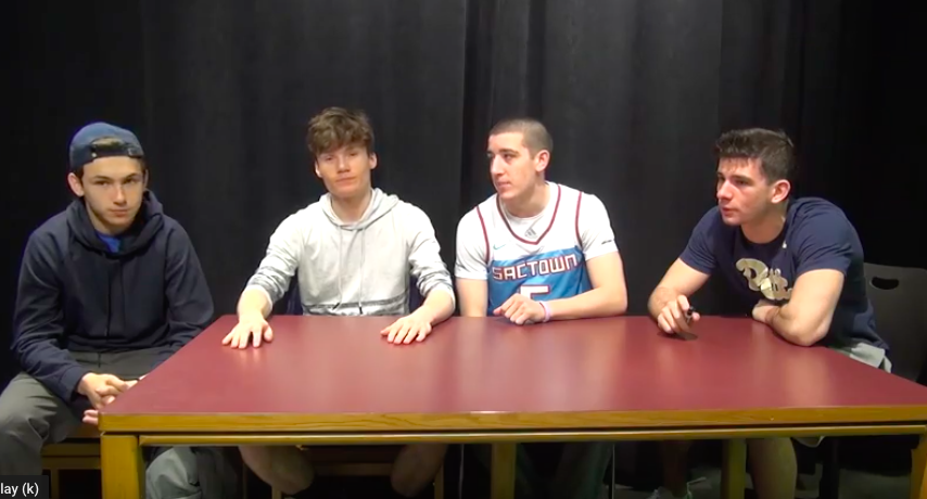 George Tomko, Nick Guimond, Alex Mullen, and Luke Surunis talk prom.