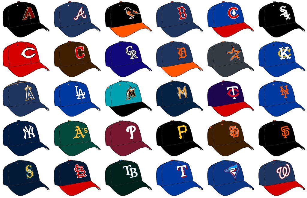 The hat of all 30 MLB teams https://live.staticflickr.com/6145/5955951261_8ae858dce5_b.jpg