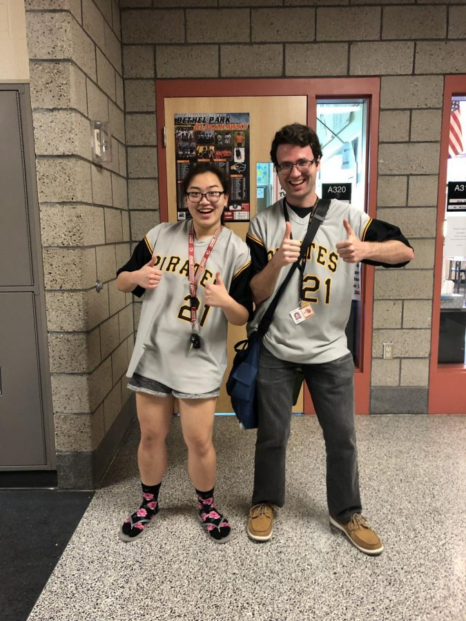 Rosie+Dailey+and+Mr.+O%27Brien+show+off+their+Yinzer+Gear+on+Monday%2C+May+6.+In+addition+to+it+being+Staff+Appreciation+Week%2C+it%27s+also+Prom+Week+at+BPHS%2C+and+Monday+was+Yinzer+Day.