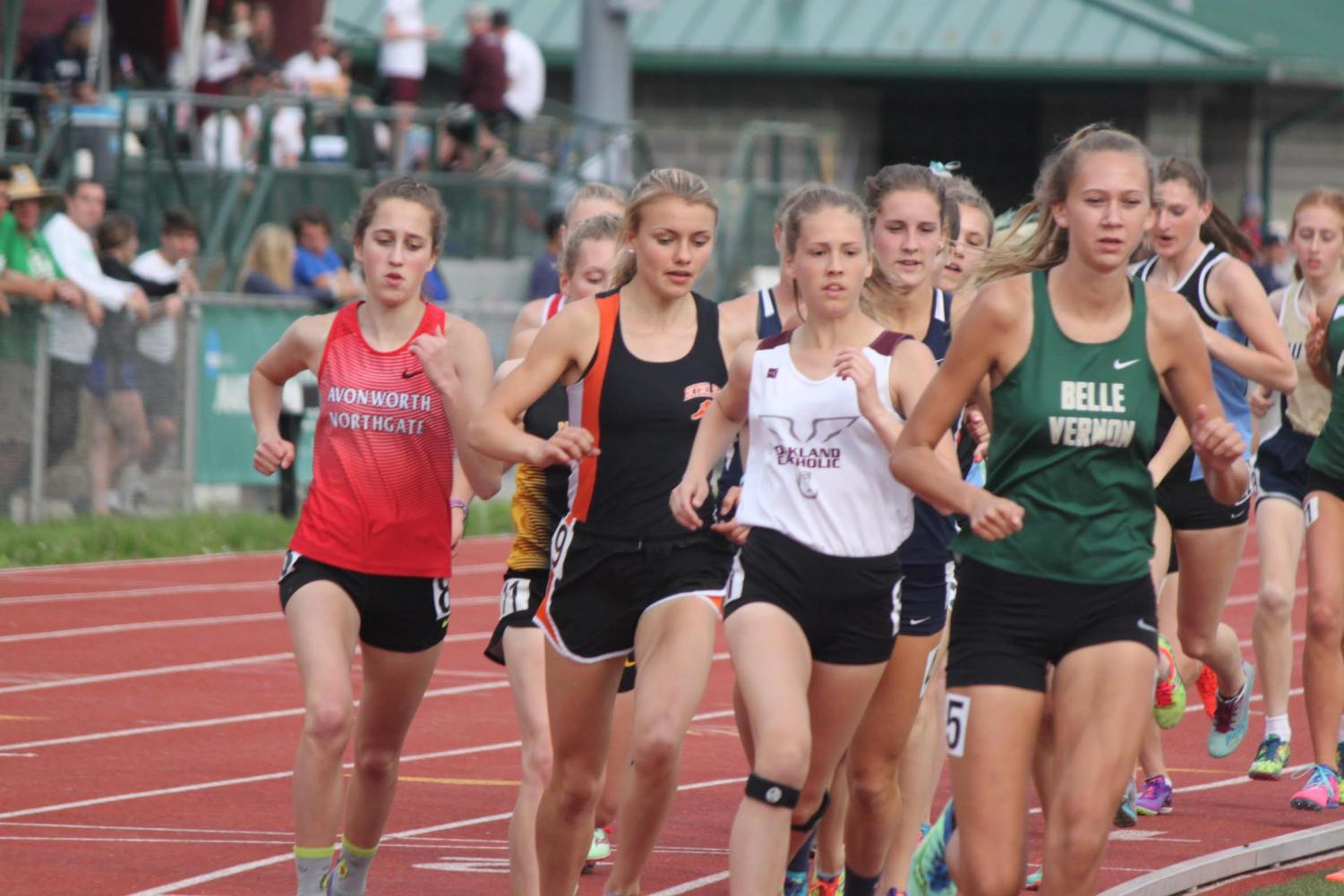 Emily Carter competes in the 3200 meter run at the WPIAL Championships on Thursday, May 16.