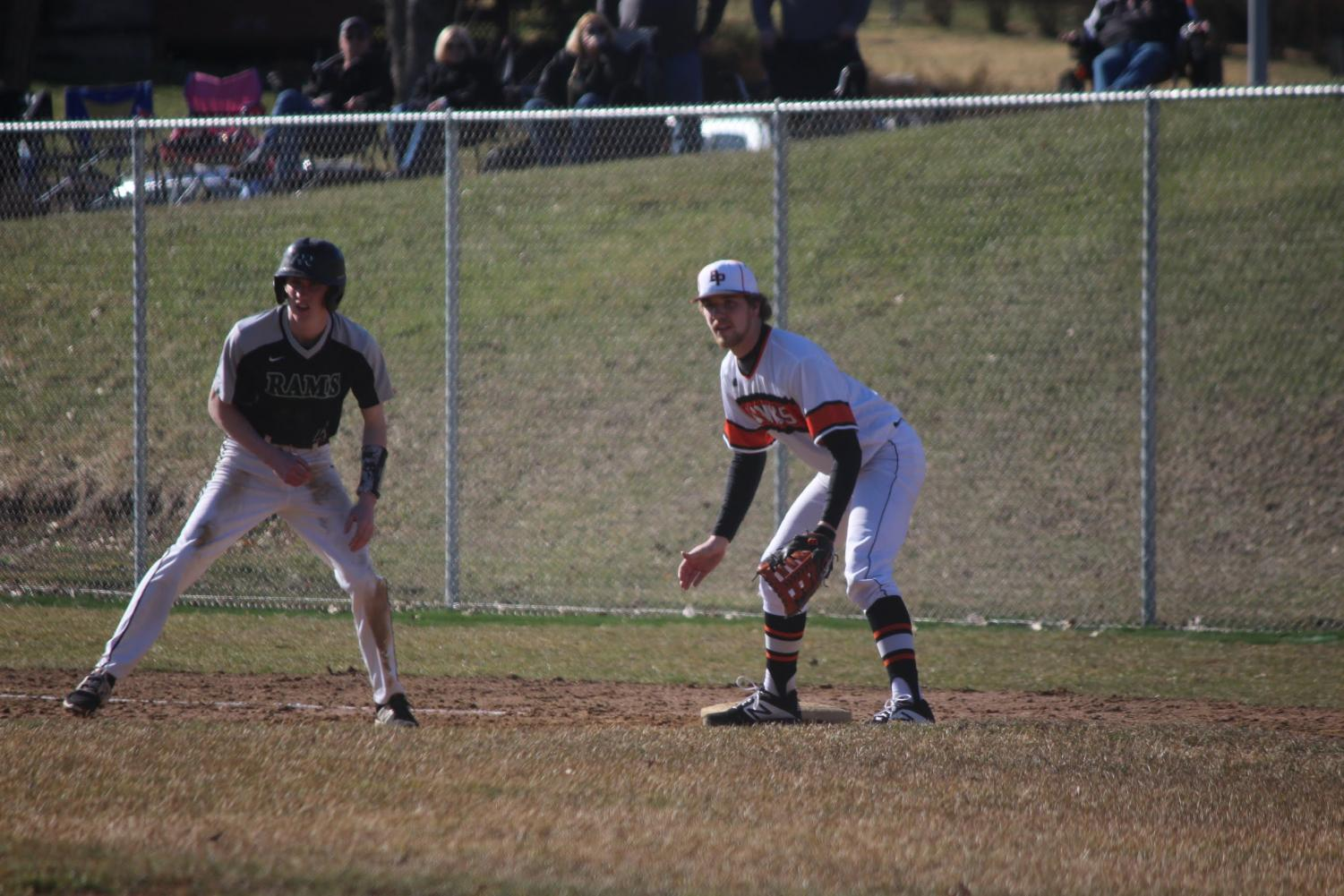 Cooper Shoemaker prepares to make a play at first base during the Hawks' game vs. Pine Richland on March 27.
