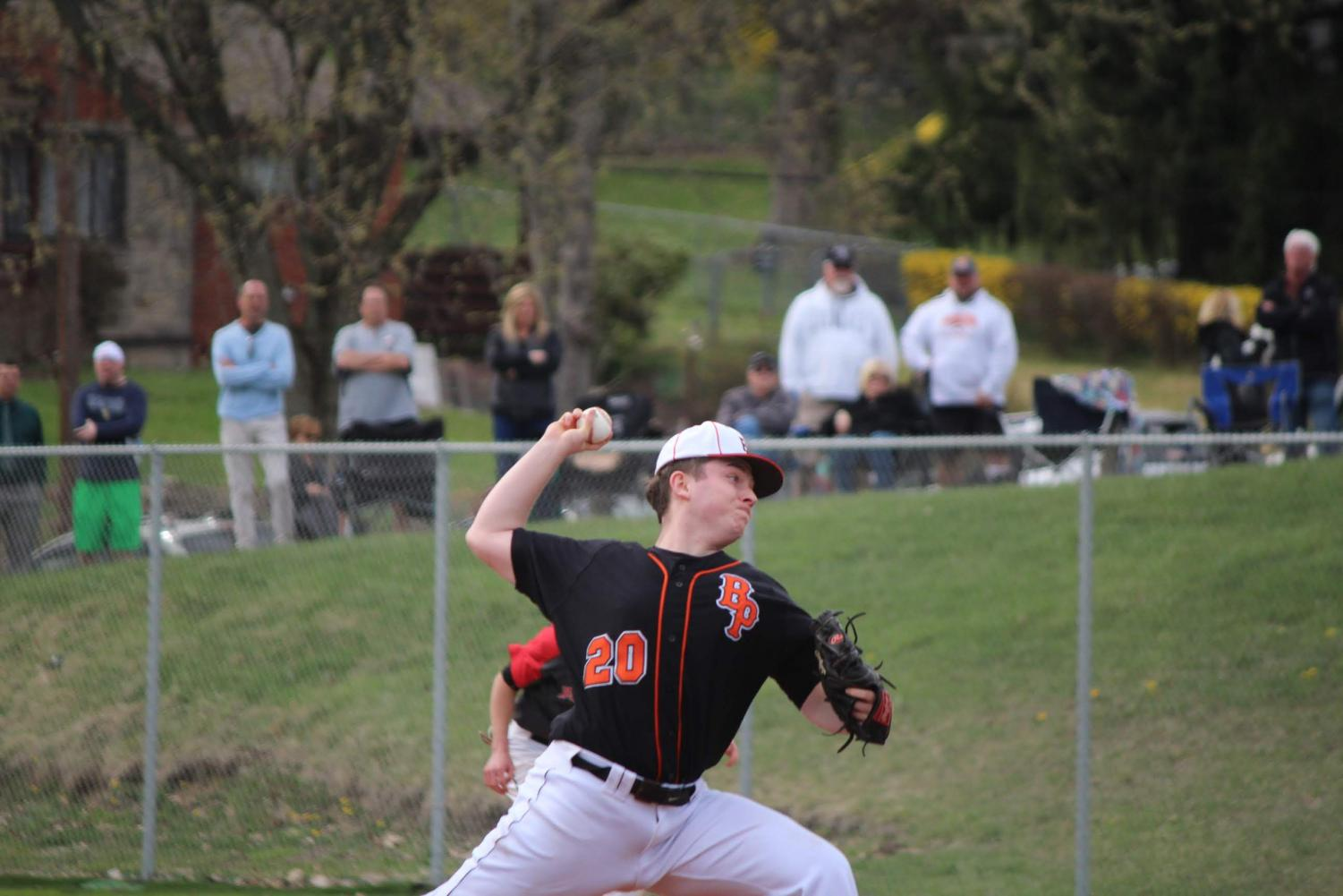 Josh Peters pitches during the Hawks' games vs. USC on April 10. The Hawks won 8-3.