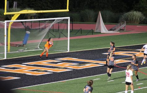 Abby Karstenson makes a big save in the first half of the Lady Hawks' game vs. Peters Wednesday, Sept. 4.