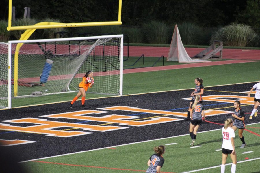 Abby Karstenson makes a big save in the first half of the Lady Hawks game vs. Peters Wednesday, Sept. 4.