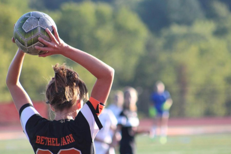 Abby Cannon looks to throw the ball in during the Lady Hawks JV game vs. USC on Sept. 9.