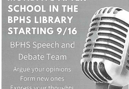 Speech and Debate flyers, like this, posted in classrooms, alert students to the club and its first meeting of the year.
