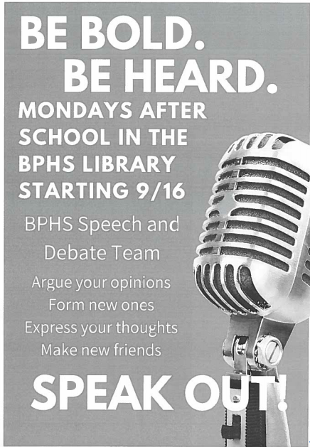 Speech+and+Debate+flyers%2C+like+this%2C+posted+in+classrooms%2C+alert+students+to+the+club+and+its+first+meeting+of+the+year.