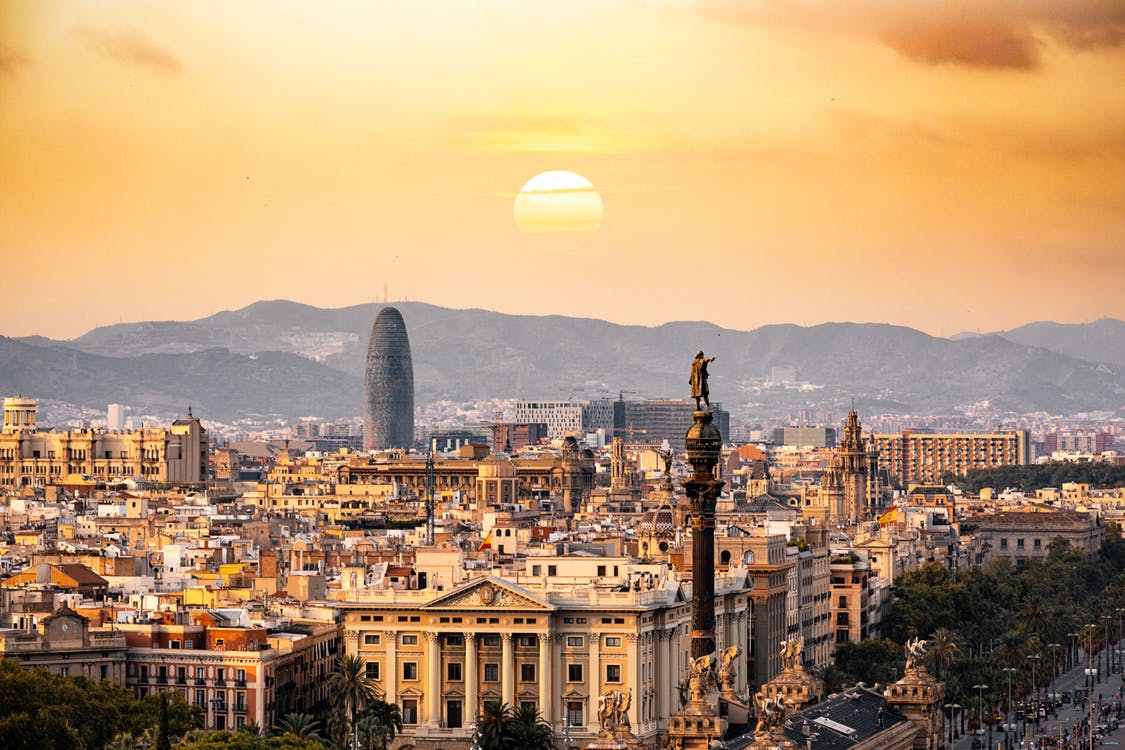 An aerial view of Barcelona, Spain.
