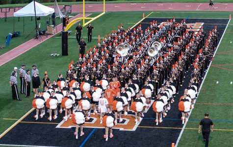 Bethel Park Marching Band marches into the end zone for one of their pre-game performances.