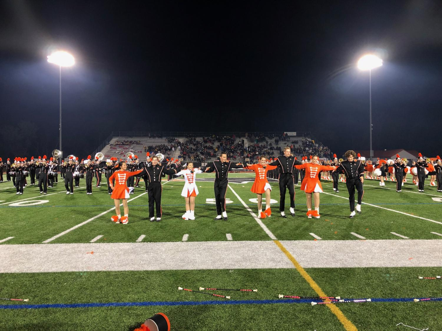 Bethel Park Majorettes and senior marching band members perform their own routine for Senior Night.