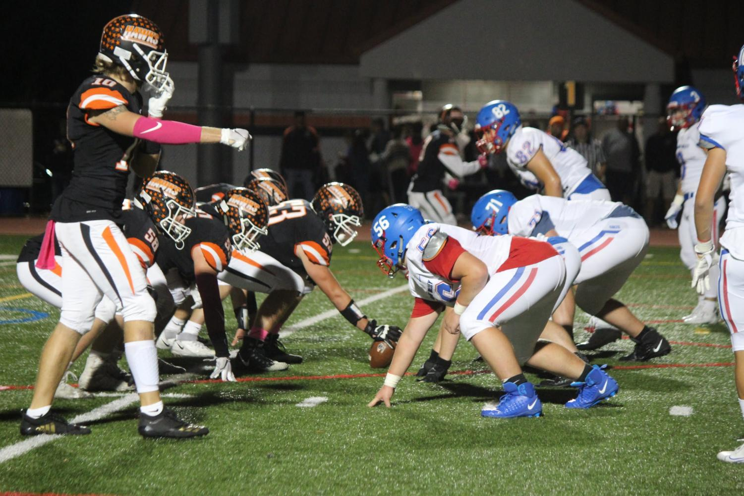 The offensive line faces Char Valley in their game on Oct. 4.