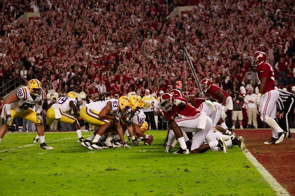 LSU looking to score a field goal in Bryant Denny Stadium vs Alabama on November 5th 2011.