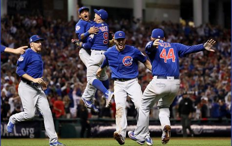 'Joy' -- Addison Russell-Javier Baez and Kris Bryant-Anthony Rizzo Celebrate Conclusion of the 2016 World Series -- Progressive Field Cleveland (OH) November 3, 2016
