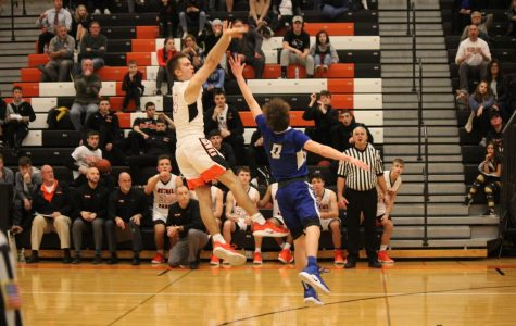 Ryan Meis shoots (and makes) a buzzer-beater against Hempfield on Dec. 19, 2018.