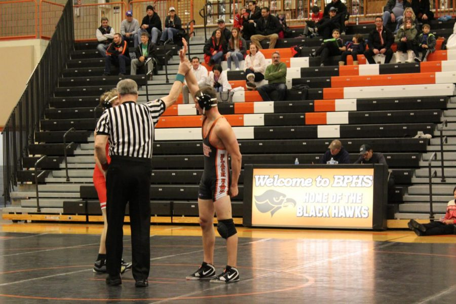 Junior Vinny Riepole gets the win over Peters Twp. on Dec. 18.