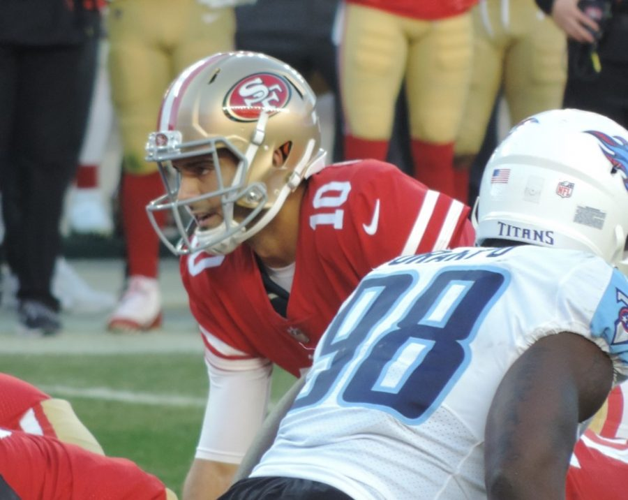 Quarterback+Jimmy+Garoppolo+plays+in+the+49ers+game+vs.+the+Titans+on+Dec.+17%2C+2017.+The+49ers+won+25-23.