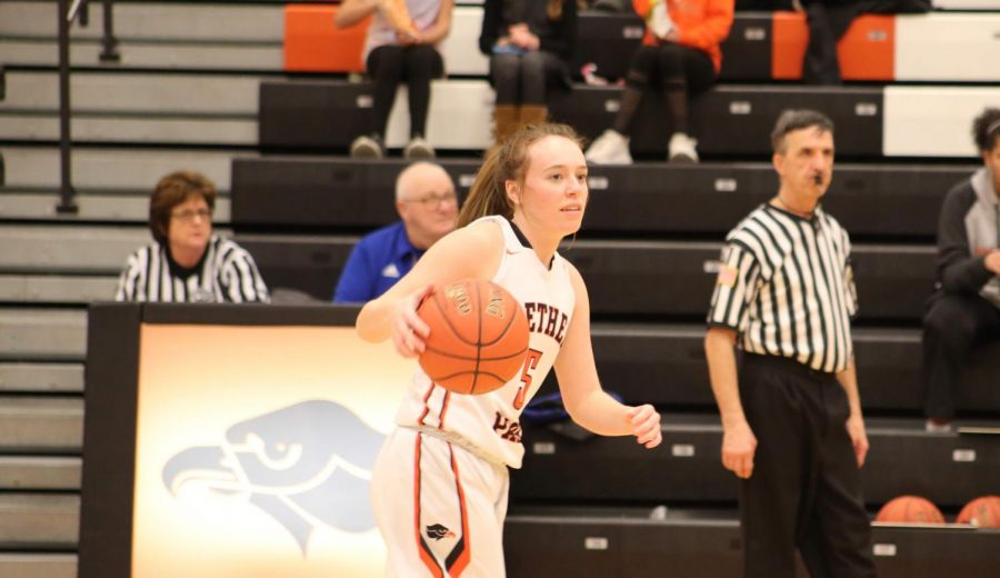 Mallory Locke dribbles up the court.