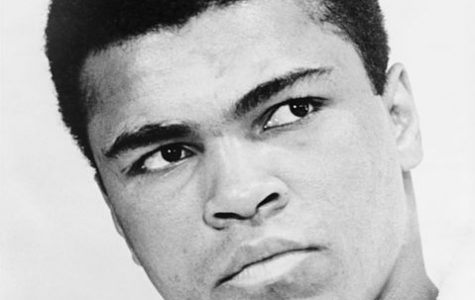 A black and white picture of famous boxer Muhammad Ali