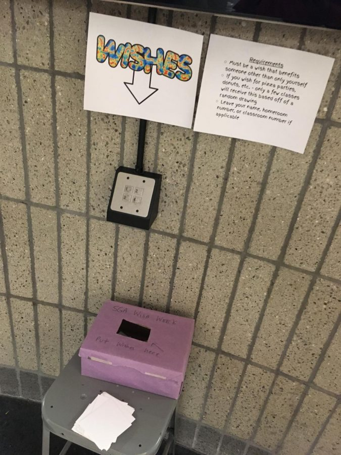 Wish Week boxes like this can be found in the rotundas.
