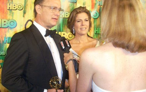 Tom Hanks and wife Rita address media in 2008.