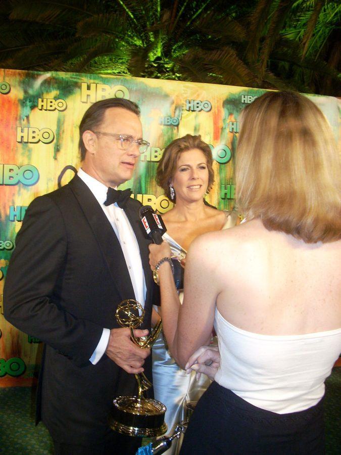 Tom Hanks and wife Rita address media in 2008.