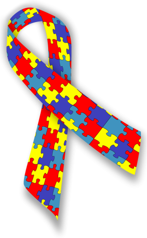 "A ""puzzle"" ribbon to promote Autism and Aspergers Awareness."