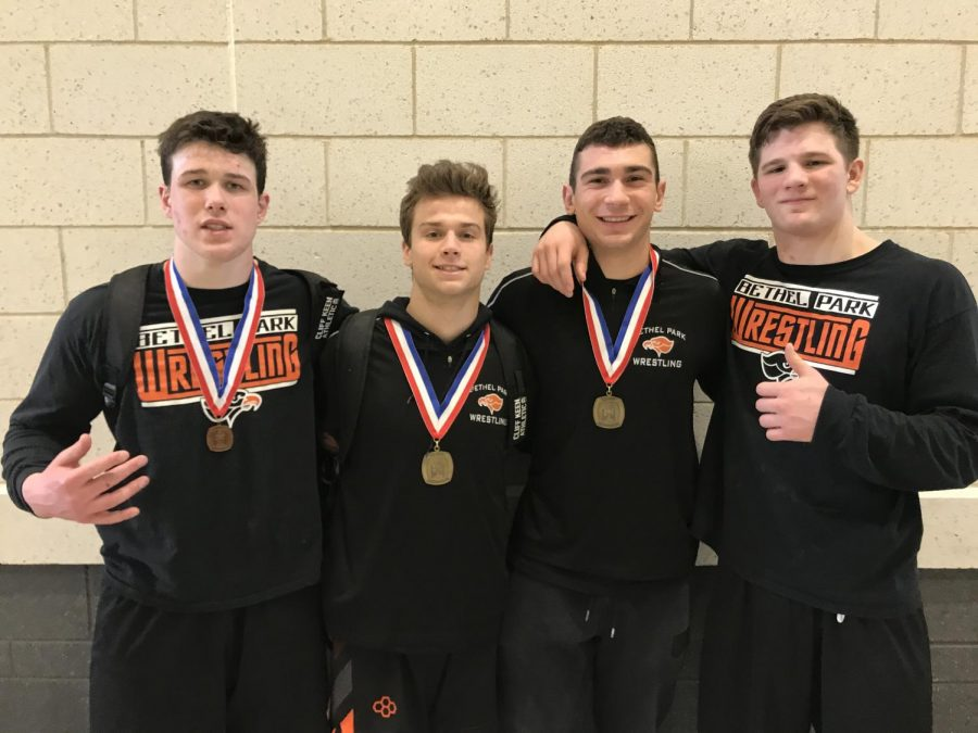Senior Tyler Thimons, Parker Loera, Riley O'Mara, and Luke Montgomery after the WPIAL Section 2 tournament.