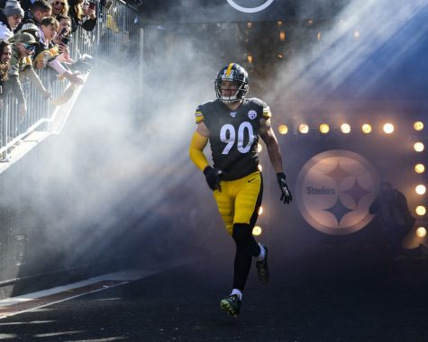 Pittsburgh Steelers linebacker T.J. Watt runs onto the field before a Pittsburgh Steelers vs. Indianapolis Colts game at Heinz Field in Pittsburgh, Pennsylvania, November 3, 2019. During the football game the National Football League honored military members currently serving as well as veterans who have served in the past with a variety of events. (U.S. Air Force photo by Joshua J. Seybert)
