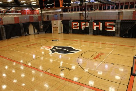An empty BPHS Gymnasium. The coronavirus pandemic has forced student-athletes to transform their homes into gyms.
