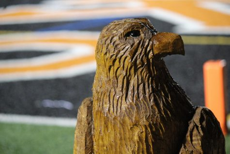 """The Hawk"" proudly sits on the stadium before the Hawks football game vs. West A on Sept. 6."