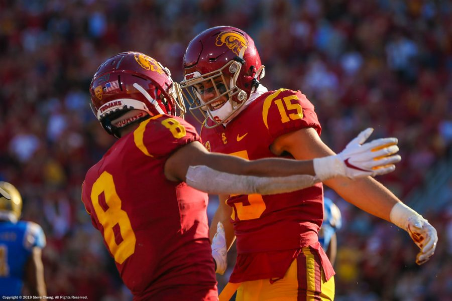 USC Trojans wide receiver Amon-Ra St. Brown (8) and Drake London celebrate after London's touchdown catch; UCLA at USC. November 23, 2019, Los Angeles, CA