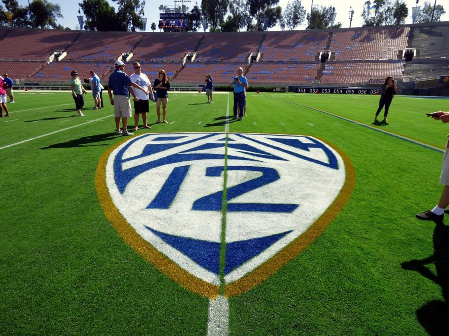The Pac-12 emblem on the turf of the Rose Bowl at UCLA.