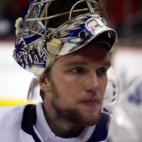 Tampa Bay Lightning goaltender Andrei Vasilevskiy during game 5 of the 2018 Eastern Conference Finals against the Washington Capitals, May 21, 2018, at Capital One Arena in Washington, D.C.