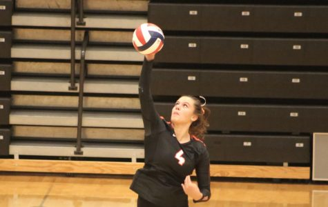 Senior Alexa Psotka spikes the ball during the Lady Hawks volleyball game vs. Baldwin on Tuesday, Sept. 29. The Lady Hawks swept the Highlanders 3-0.