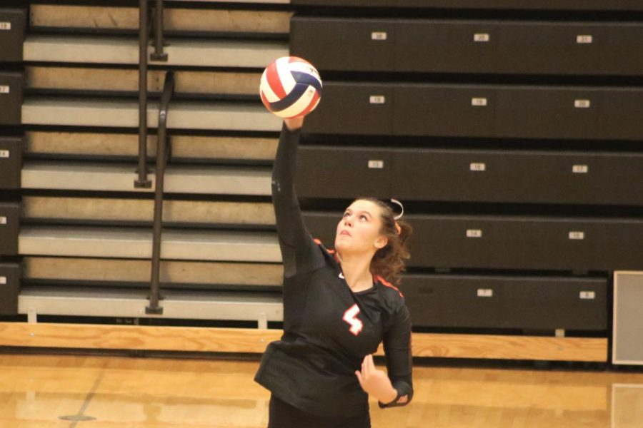 Senior+Alexa+Psotka+spikes+the+ball+during+the+Lady+Hawks+volleyball+game+vs.+Baldwin+on+Tuesday%2C+Sept.+29.+The+Lady+Hawks+swept+the+Highlanders+3-0.