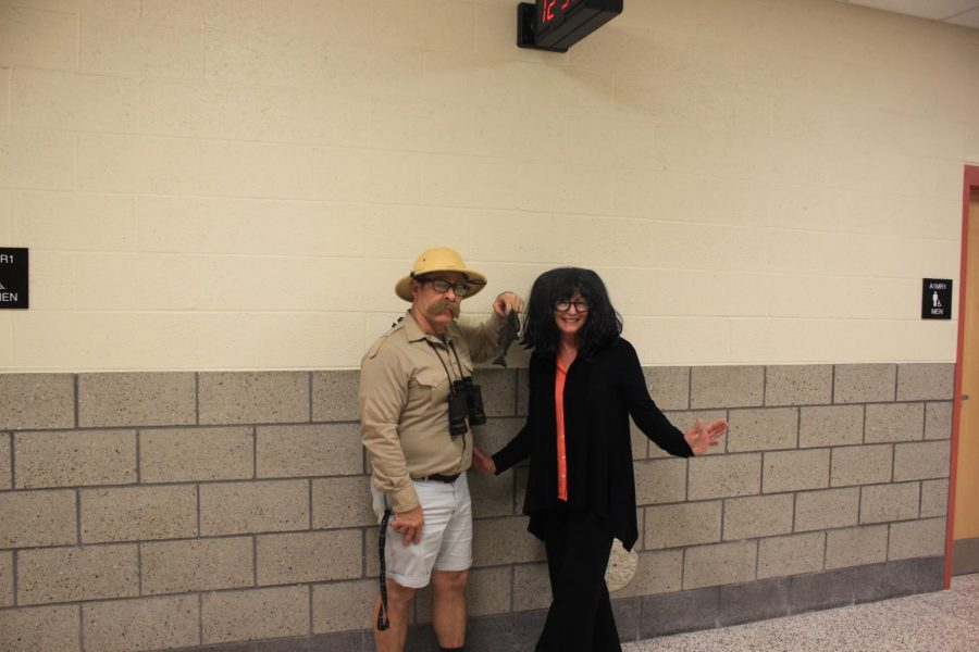 Mr. Wallisch and Ms. Durco participate in last year's Halloween costume contest.