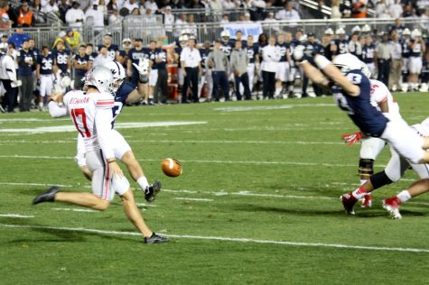 Penn State blocks a punt from Ohio State on Oct. 27, 2012. Ohio State won the game 35-23.