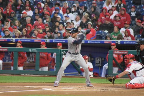 Freddie Freeman at bat against the Phillies on March 31, 2019.