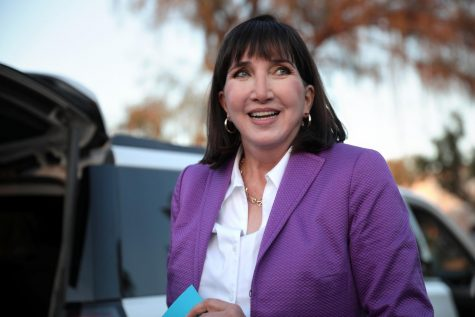 Jo Jorgensen speaking with supporters at a campaign rally at Eldorado Park in Scottsdale, Arizona on Oct. 10.