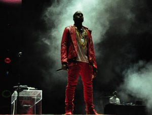 Kanye West performing at Lollapalooza on April 3, 2011 in Chile.