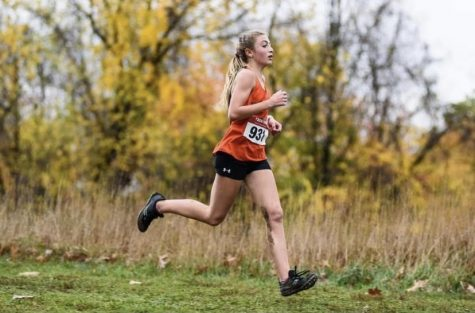Freshman Jenna Lang pushing her way to second place at the WPIAL cross country championships.