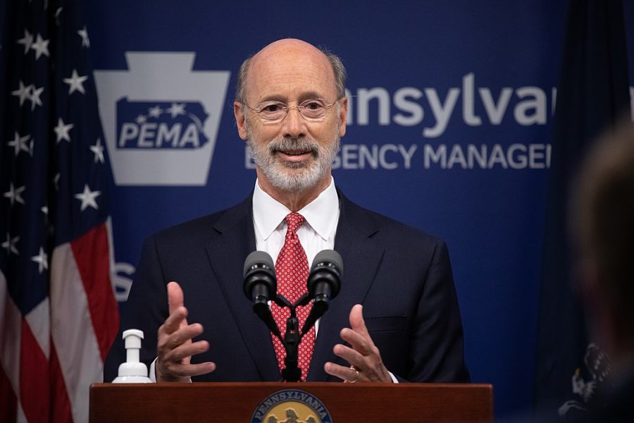 Pennsylvania Governor Tom Wolf answering questions from the press.  As states across the country begin to reopen and nearly half are seeing COVID-19 cases rise, Governor Tom Wolf announced Friday that Pennsylvania is not one of them. ...Today at a daily COVID briefing with Health Secretary Dr. Rachel Levine, he noted another milestone: The Centers for Disease Control and Prevention proprietary data for states indicates that we are one of just three states that has had a downward trajectory of COVID- 19 cases for more than 42 days. The other two states are Montana and Hawaii.  JUNE 17, 2020 - HARRISBURG, PA.
