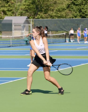 Mia Gorman prepares to hit the ball during her tennis match vs. Char Valley on Sept. 8.