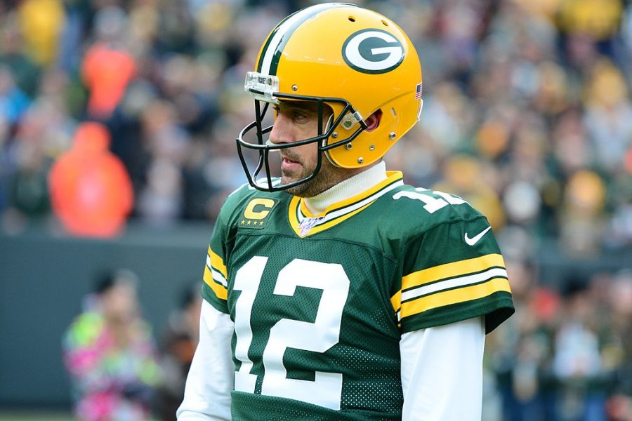 Green+Bay+Packers+quarterback%2C+Aaron+Rodgers%2C+in+a+game+against+the+Washington+Redskins+on+December+8%2C+2019.