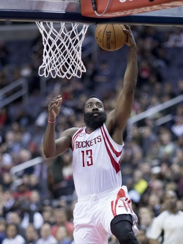 James Harden goes for a dunk in the Rockets