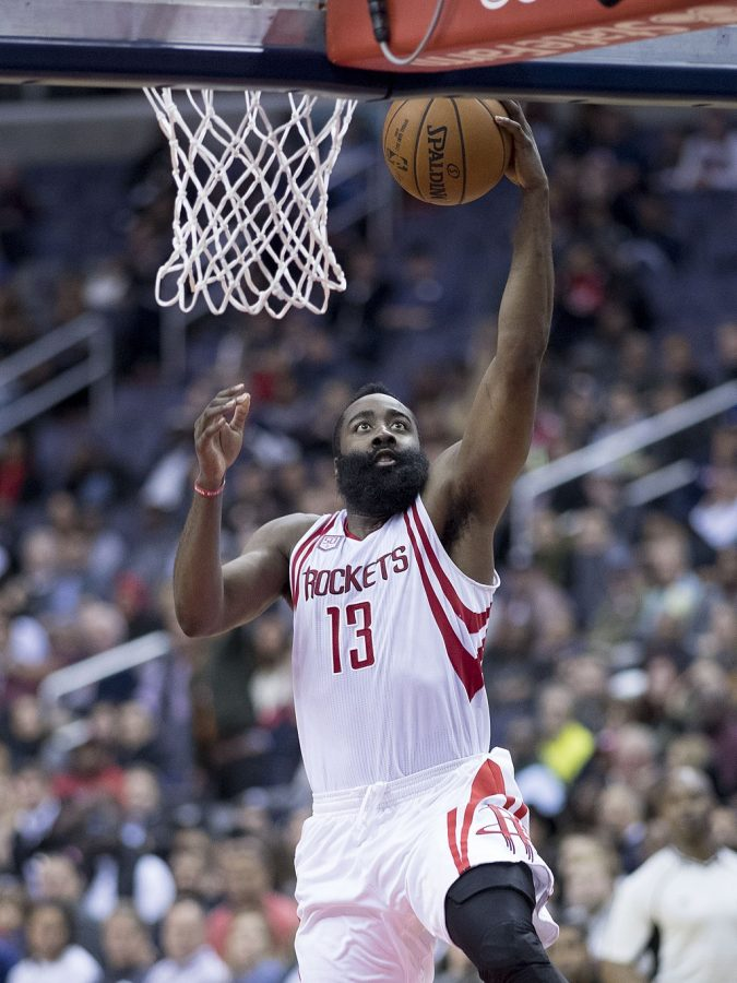 James Harden goes for a dunk in the Rockets' game vs. the Wizards Nov. 7, 2016.