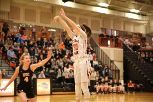 Olivia Westphal takes a shot in the Lady Hawks' game vs. Upper St. Clair on Jan. 20, 2020.