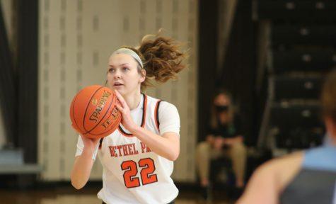 Olivia Westphal focuses on the basket during the Lady Hawks game vs. Seneca Valley on Jan. 23.