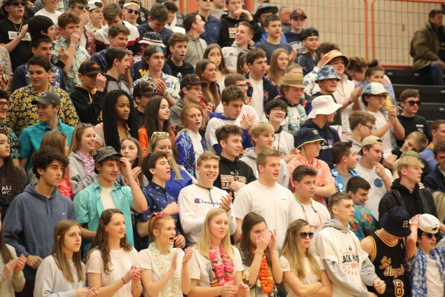 Students cheer at the boys varsity basketball game vs. USC on Jan. 31, 2020.